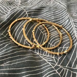 Jewelry - Pearl Studded Golden Three Bangle Set